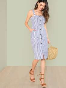 Thick Strap Button Up Pinstripe Pencil Dress