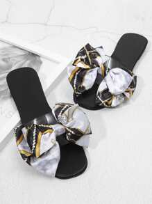 Bow Decorated Satin Flat Sandals