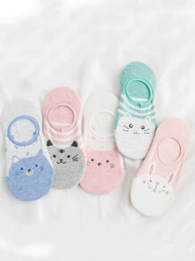 Cartoon Print Invisible Socks 5Pairs