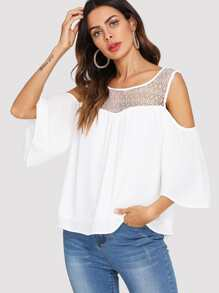 Open Shoulder Lace Panel Top