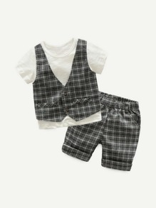 Toddler Boys Pocket Detail Plaid Top With Shorts