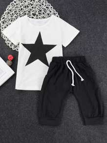 Toddler Boys Star Print Top With Pants