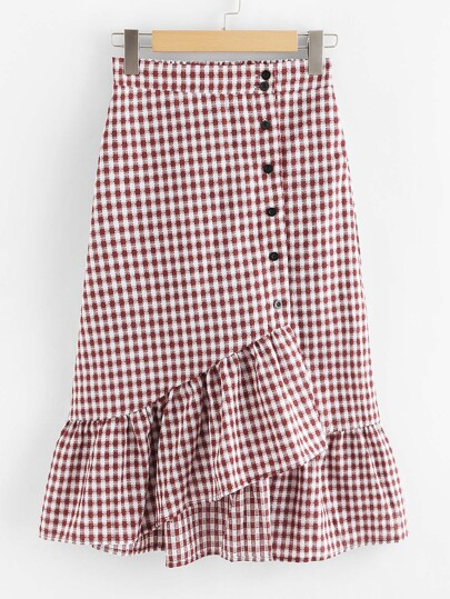 Single Breasted Ruffle Hem Checked Skirt