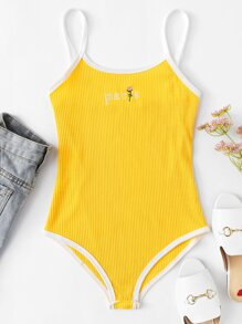 Letter Embroidered Cami Bodysuit