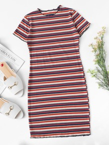 Lettuce Trim Striped Ribbed Knit Dress