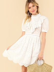Mock Neck Eyelet Guipure Lace Dress