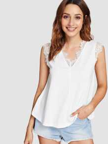 Lace Detail V Neck Sleeveless Top
