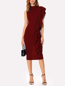 One Shoulder Ruffle Trim Mock Neck Midi Dress