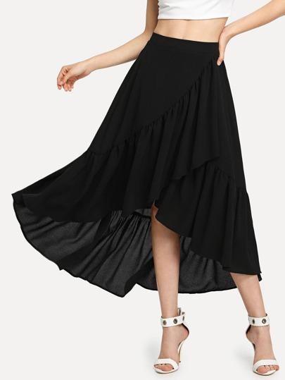 8a55ac700 Asymmetric Flounce Trim Wrap Skirt   SHEIN