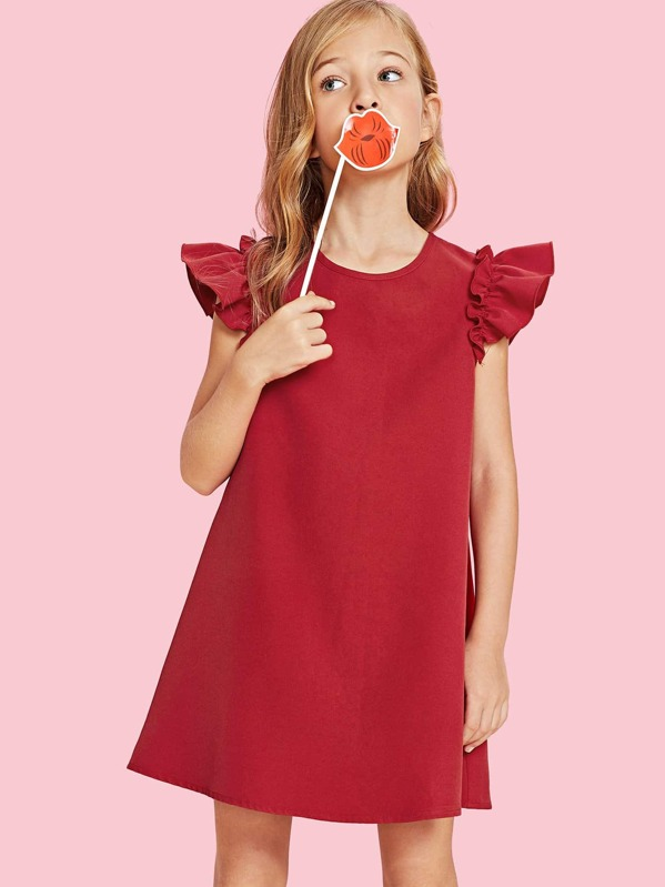0524137f7d90 Girls Ruffle Armhole Trapeze Dress