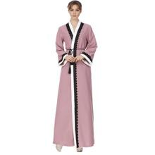 Lace Crochet Contrast Tie Waist Abaya