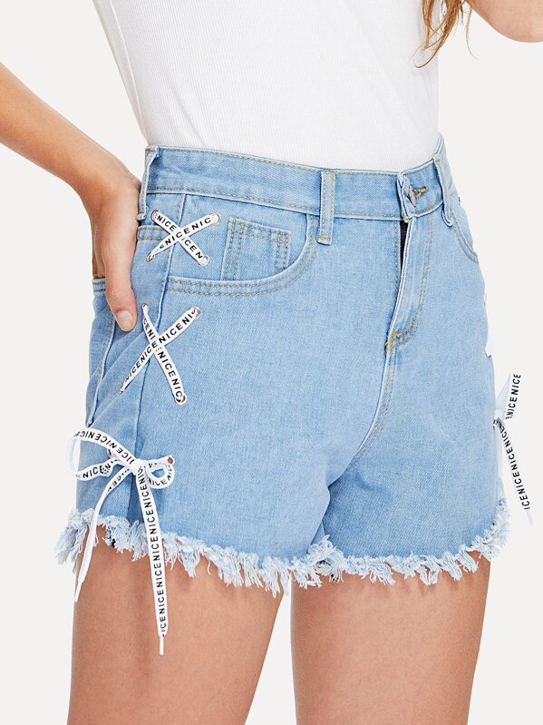 f4001a75bd76b5 Lace Up Side Raw Hem Denim Shorts