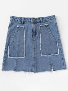 9d04c7c2db Dual Pocket Frayed Hem Denim Skirt | SHEIN IN