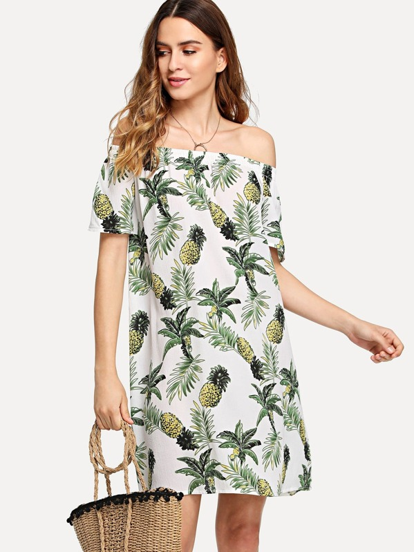 666b1f1aad6a Off Shoulder Pineapple Print Dress