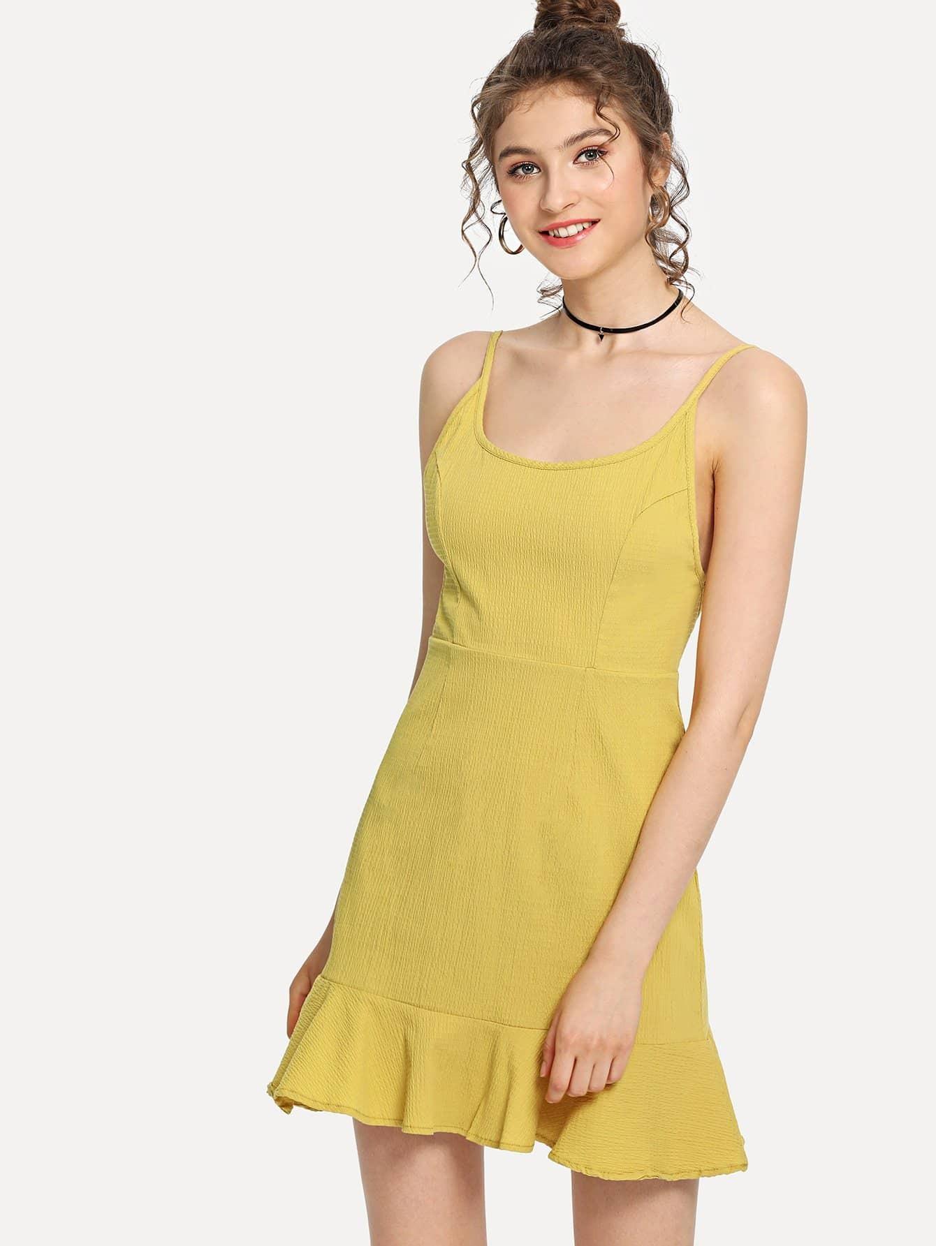 36f559a8904 Solid Ruffle Hem Backless Cami Dress EmmaCloth-Women Fast ...