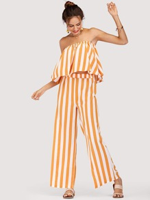 Off Shoulder Striped Top With Wide Leg Pants
