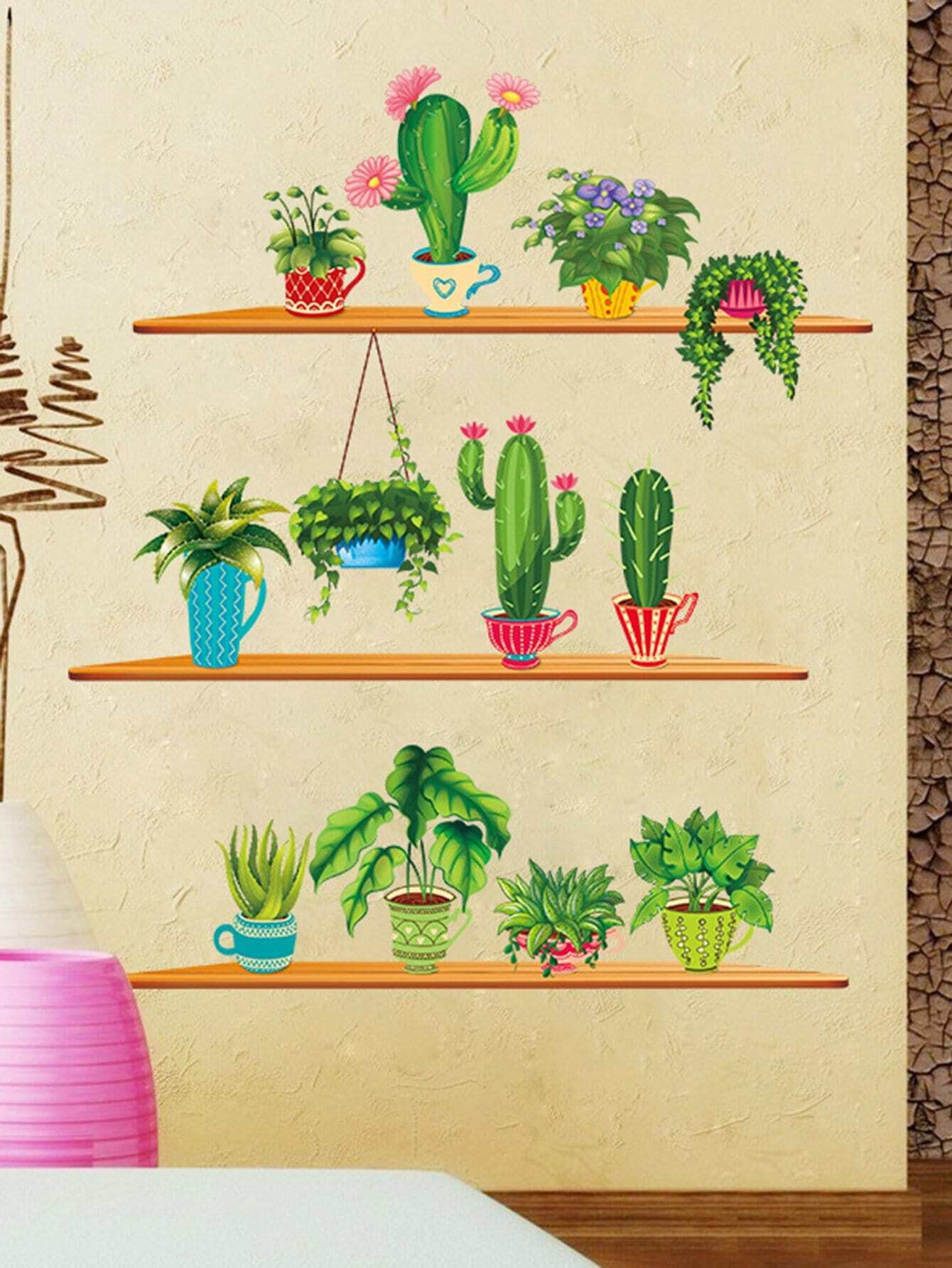 Cactus Wall DecalFor Women-romwe