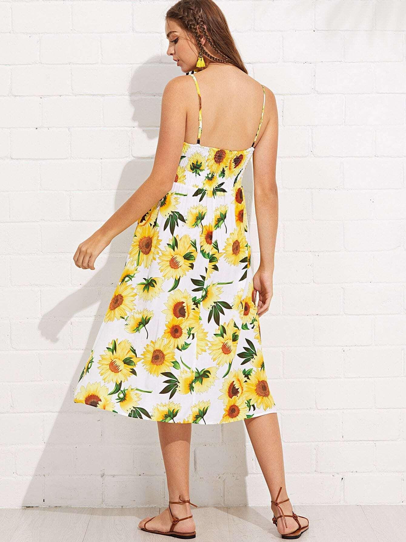 Sunflower Print Button Up Cami Dress Sheinsheinside