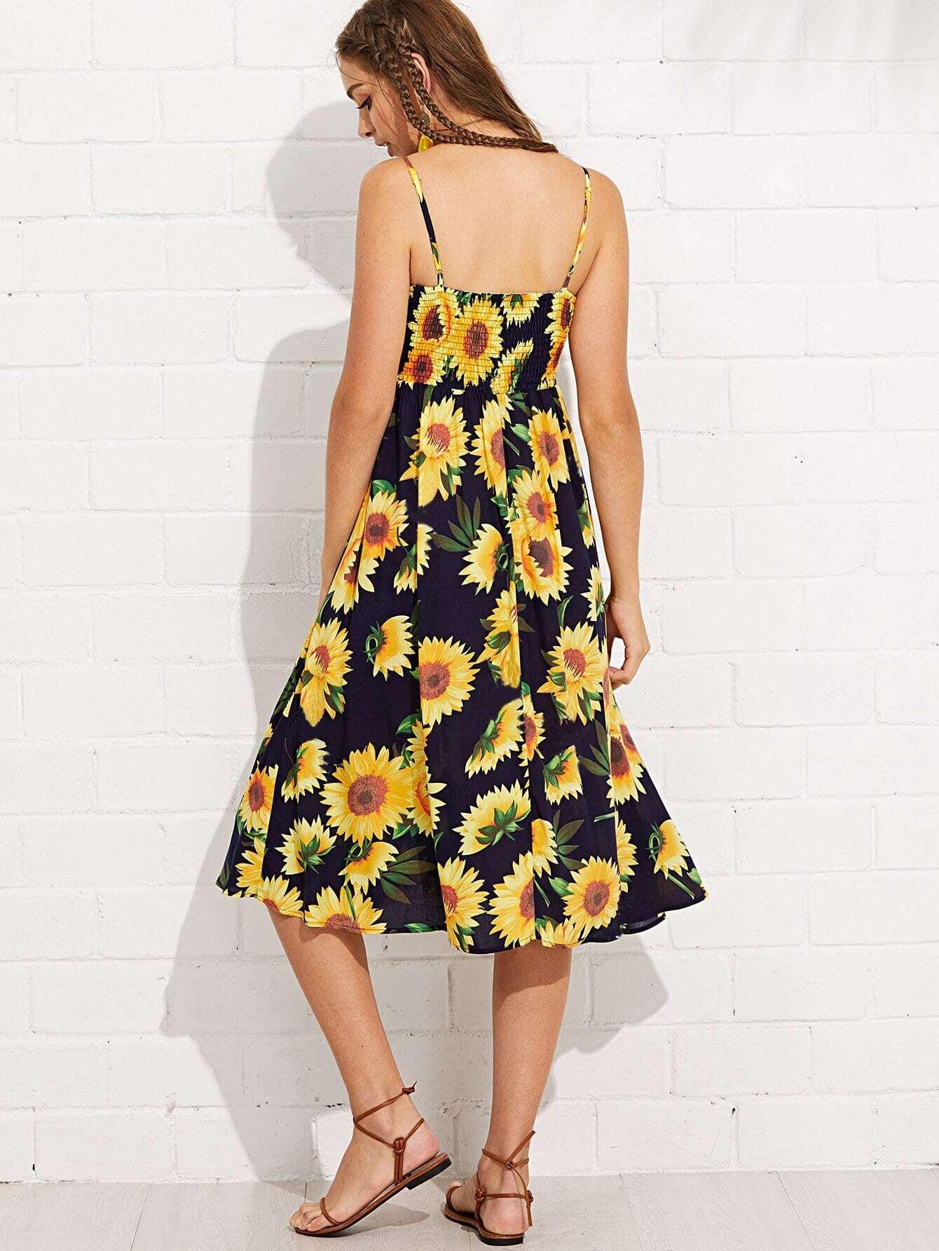 1c3baaa244c3 2018 Summer New Fashion Dresses Sexy Sunflower Pineapple ...
