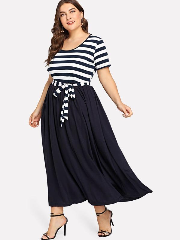 los mejores precios fotos nuevas mejores telas Vestido de rayas con cinturón de talla grande