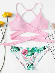 Criss Cross Wrap Top With Floral Bikini Set