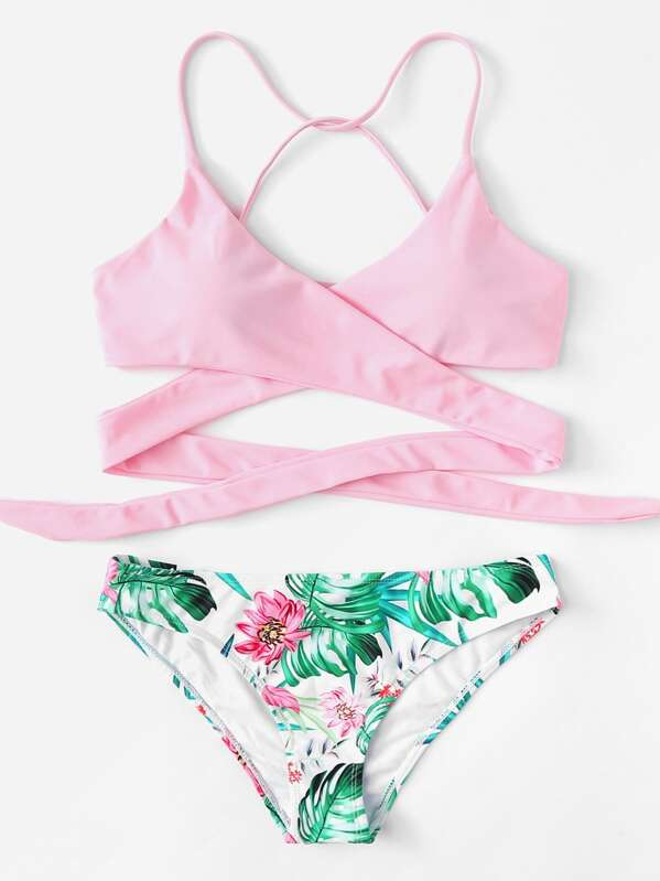 c8f07295de Criss Cross Wrap Top With Floral Bikini Set | SHEIN