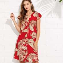 Flutter Sleeve Palm Leaf Print Buttoned Dress dress180515417