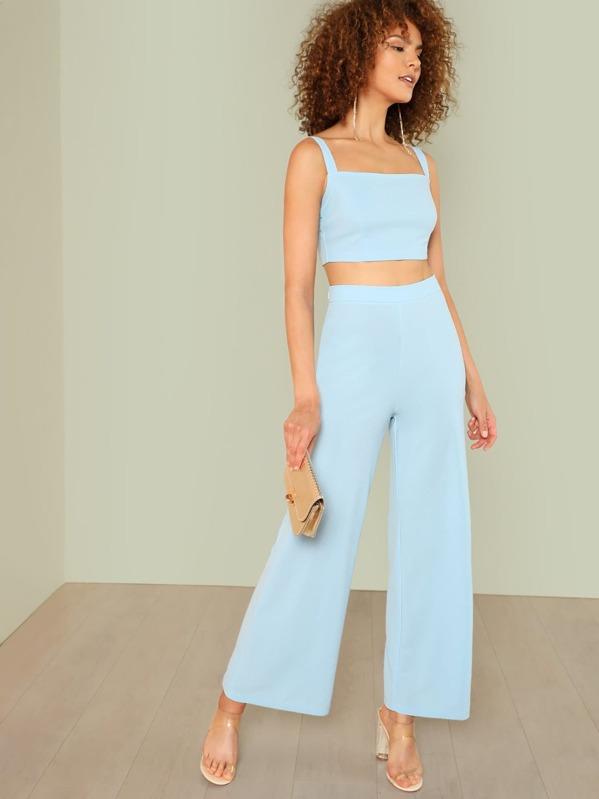 2a2847608b Thick Strap Crop Top & Palazzo Trousers Set | SHEIN UK