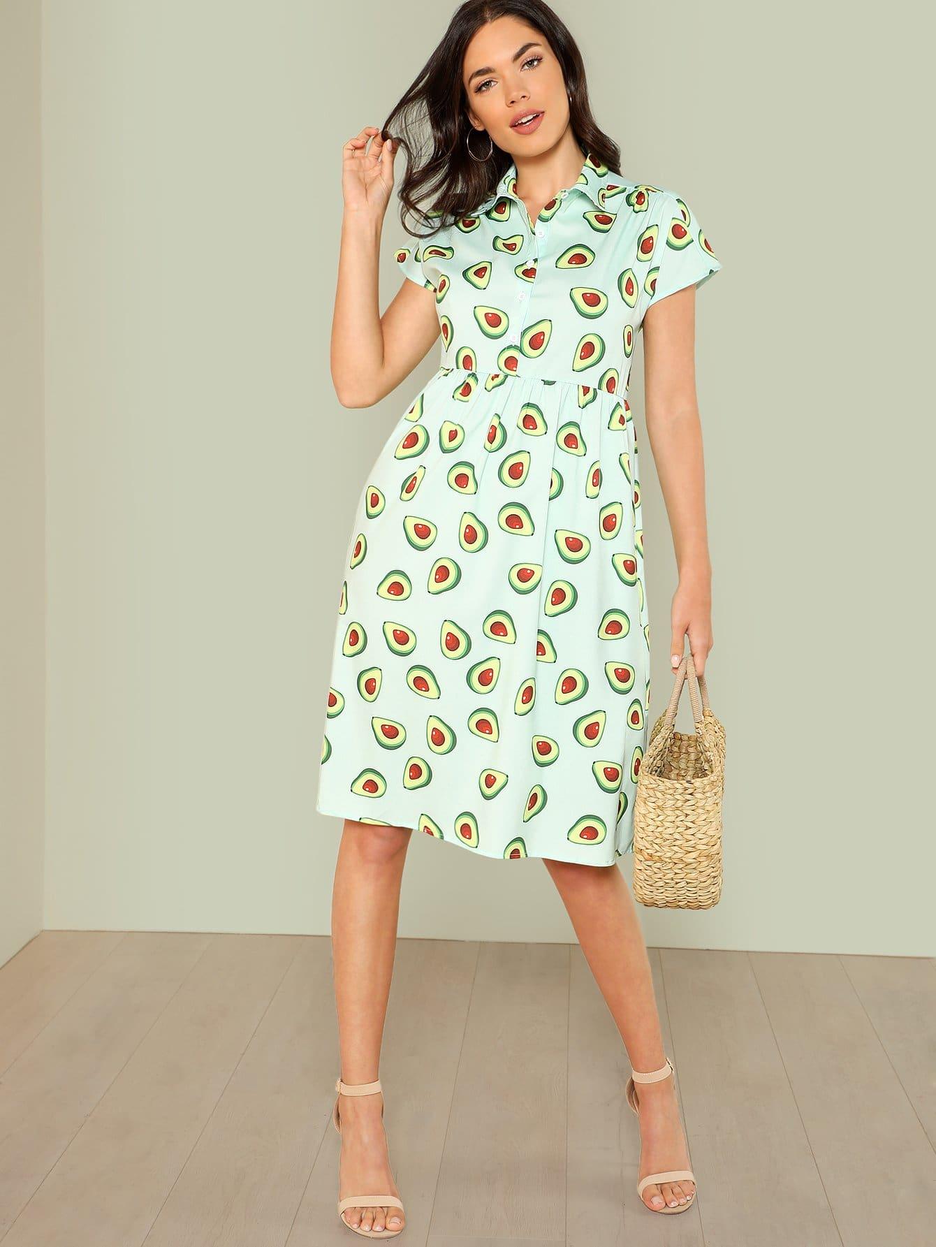 Avocado Print Half Placket Smock Dress