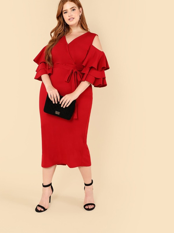 Plus Open Shoulder Layered Flounce Sleeve Wrap Dress