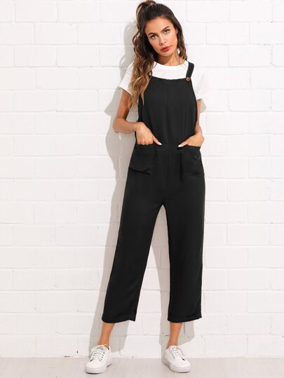 Pocket Front Rolled Up Hem Pinafore Utility Jumpsuit