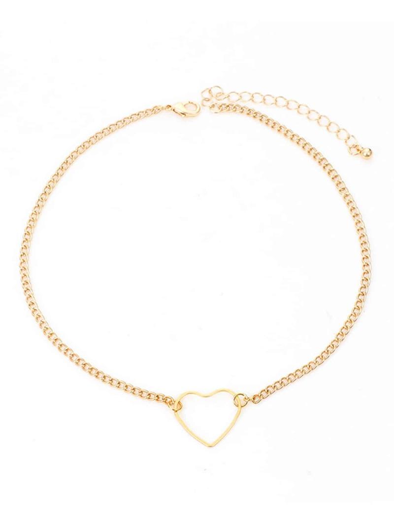 b8797a34f23d9 Open Heart Pendant Chain Choker