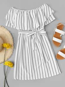 Striped Print Layered A Line Dress With Belt