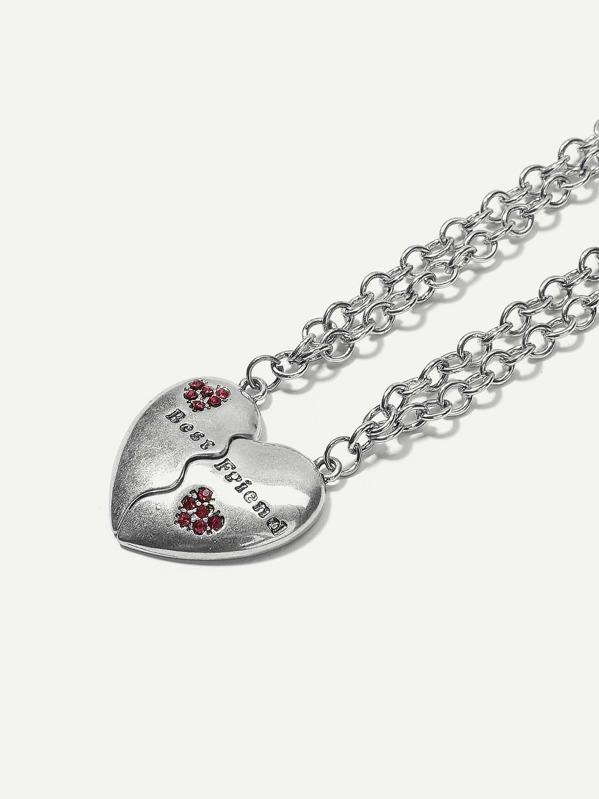 68a05c2861 Heart Design Couple Chain Bracelet Set 2pcs | SHEIN