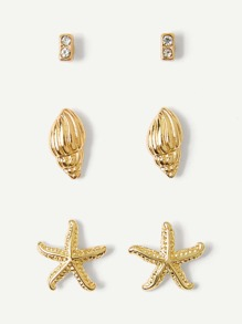 Shell & Starfish Detail Stud Earrings 3pairs
