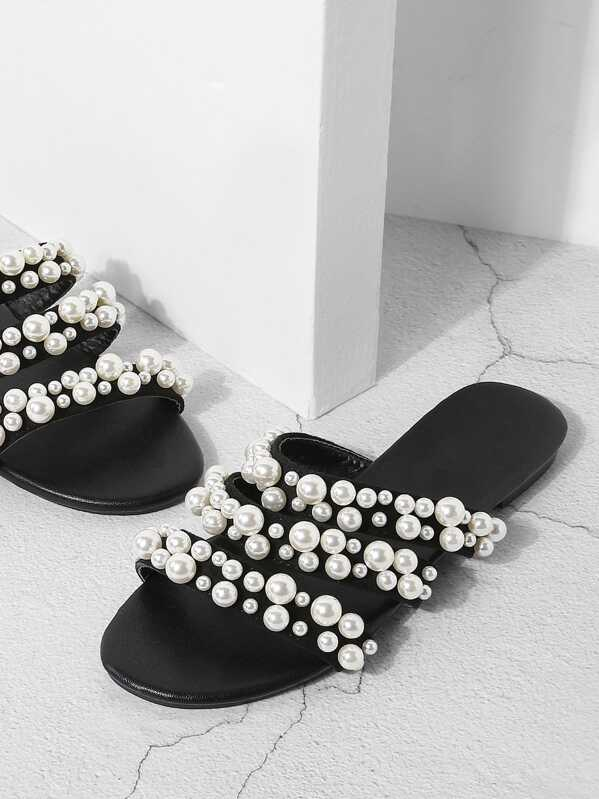 f93387552 Faux Pearl Decorated Flat Sandals | SHEIN UK