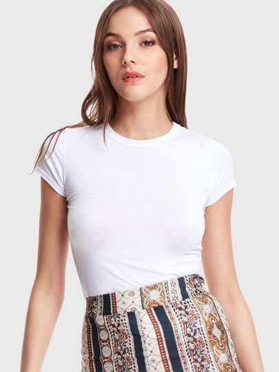 Tee-shirt unicolore à manche cap
