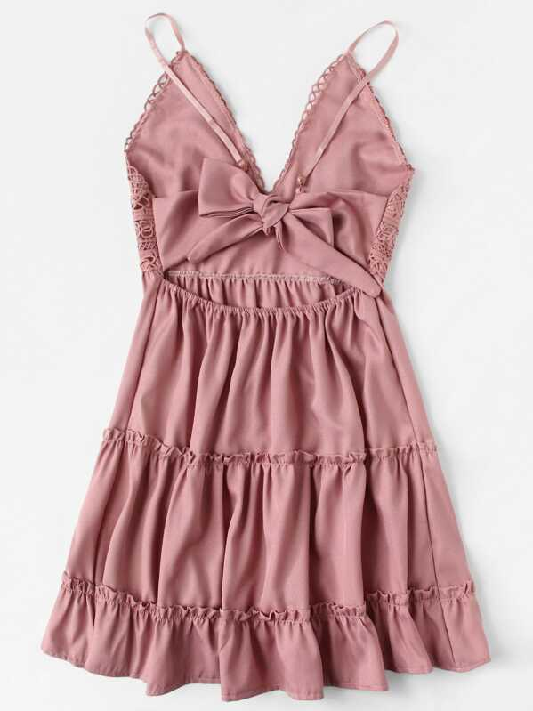 0ee4495d09a9 Lace Panel Tiered Seam Cami Dress | SHEIN