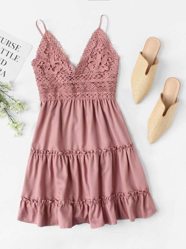 4b6640abd36 Lace Panel Tiered Seam Cami Dress