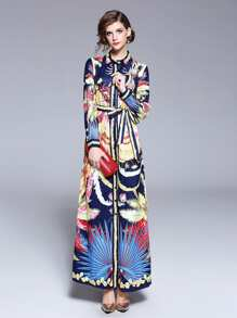 Graphic Print Tie Waist Longline Shirt Dress