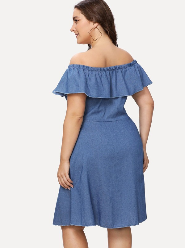 94ba5296884902 Plus Off Shoulder Single Breasted Front Ruffle Dress | SHEIN IN