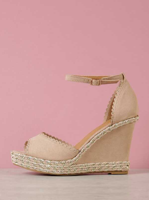 a596a1a0cd8 Faux Suede Embellished Peep Toe Wedge Sandal