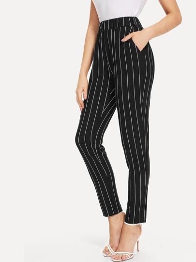 9b990cf414 Elastic Waist Pinstripe Cigarette Pants