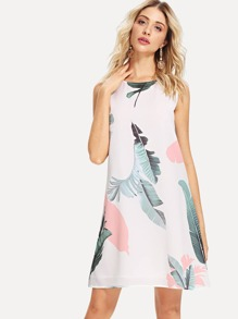 Jungle Leaf Print Sleeveless Dress