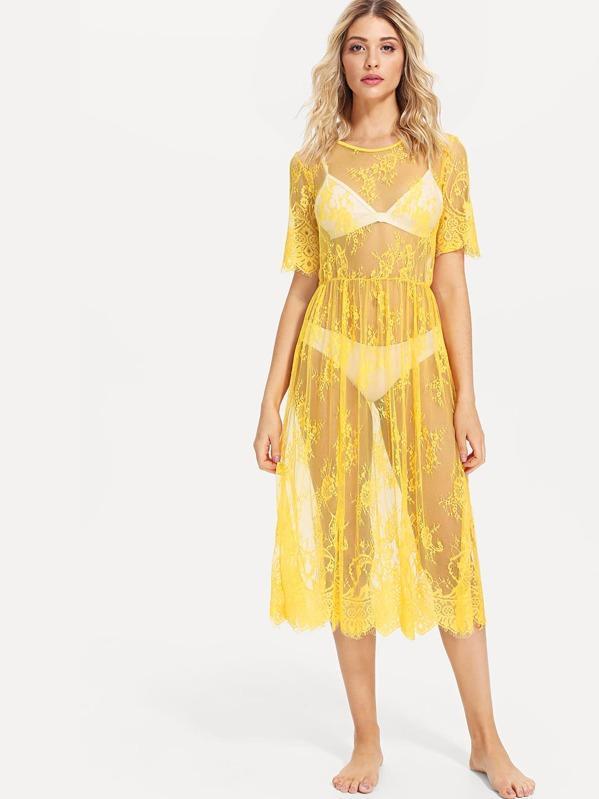 182104b9e442 See Through Eyelash Lace Dress without Lingerie Set | SHEIN