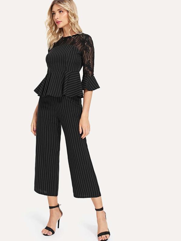 dbcb5439ad Striped Print Lace Insert Peplum Top & Loose Pants Set | SHEIN UK