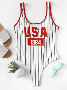 Letter & Striped Contrast Binding One Piece Swim