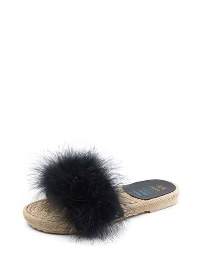 Faux Fur Espadrille Slippers