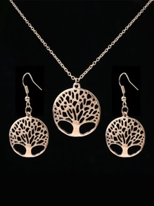 Hollow Tree Design Pendant Necklace And Earrings 1pair