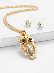 Owl Pendant Necklace And Earrings 1pair